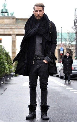 Choose a trench and charcoal jeans for a seriously stylish look. A pair of black leather casual boots looks proper here. You can bet this outfit is great come colder days.