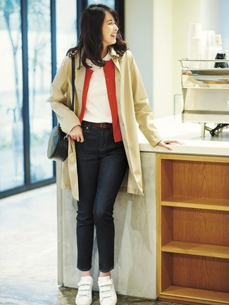 How to wear: tan trenchcoat, red cardigan, white crew-neck t-shirt, black jeans