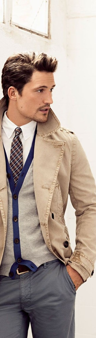 Perfect the smart casual look in a camel trenchcoat and grey chinos.