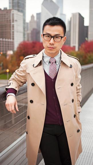 How to wear: tan trenchcoat, burgundy cardigan, grey dress shirt, black jeans