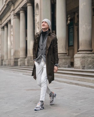 How to wear: brown trenchcoat, grey cardigan, charcoal turtleneck, white jeans