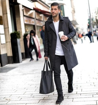 How to Wear a Black Trenchcoat For Men: For a casually classic look, consider pairing a black trenchcoat with black chinos — these two pieces work pretty good together. For a more sophisticated finish, why not complement this ensemble with a pair of black suede chelsea boots?