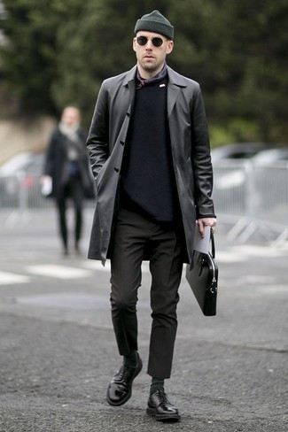 How to Wear a Black Leather Briefcase: For a casual outfit, try teaming a black leather trenchcoat with a black leather briefcase — these items go really great together. Boost the dressiness of this getup a bit by wearing a pair of black leather derby shoes.