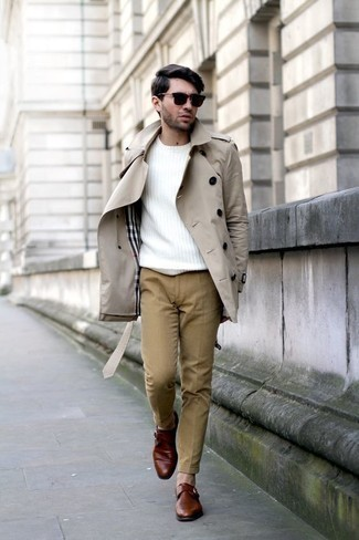 How to Wear Khaki Chinos: For a casually classic outfit, make a beige trenchcoat and khaki chinos your outfit choice — these items work nicely together. Tobacco leather monks are a fail-safe way to bring an extra dose of style to this ensemble.