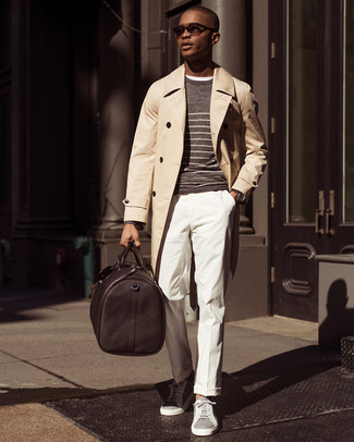 How to wear: beige trenchcoat, brown horizontal striped crew-neck sweater, white crew-neck t-shirt, white dress pants