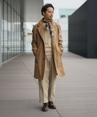 500+ Fall Outfits For Men: You can be sure you'll look truly stylish in a tan trenchcoat and beige dress pants. Finishing with a pair of dark brown leather casual boots is a surefire way to bring a more laid-back vibe to your ensemble. When temps are getting lower and fall is in the air, you'll love this combo as your uniform for summer-to-fall weather.