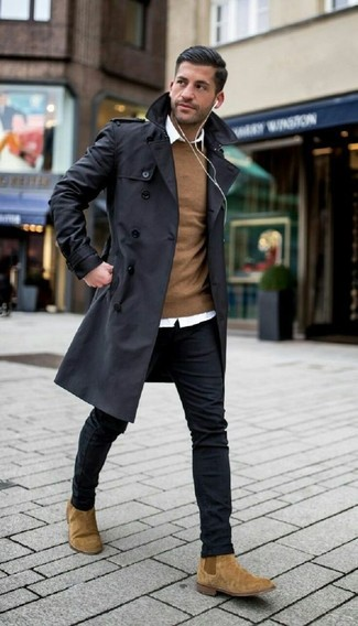 How to wear: black trenchcoat, brown crew-neck sweater, white dress shirt, black skinny jeans