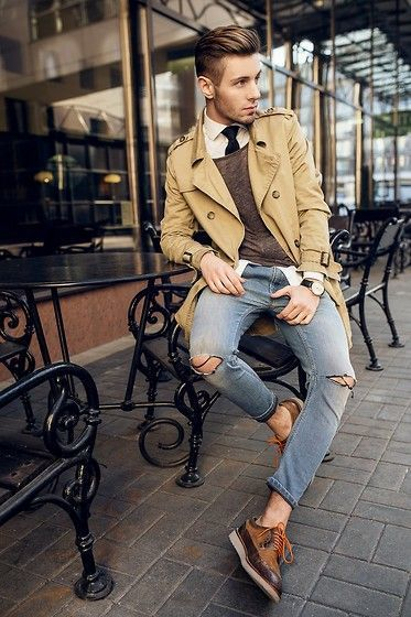 How To Wear Blue Jeans With a Brown Sweater | Men's Fashion