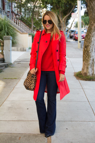 A Derek Lam Knit Crew Neck Sweater and navy flare jeans are great staples that will integrate perfectly within your current looks. Add a glam twist to your look with black leather ankle boots. So as you can see, it's very easy to look awesome and stay toasty when colder days are here, thanks to this ensemble.