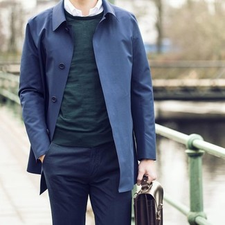 How to wear: navy trenchcoat, dark green crew-neck sweater, white long sleeve shirt, navy dress pants