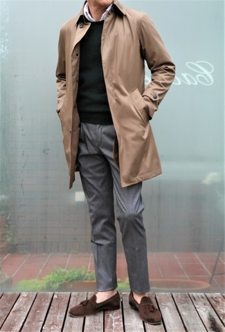 Dark Green Sweater with White Shirt Outfits For Men: This outfit with a dark green sweater and a white shirt isn't a hard one to pull off and is easy to change throughout the day. Dark brown suede tassel loafers are an easy way to upgrade your getup.