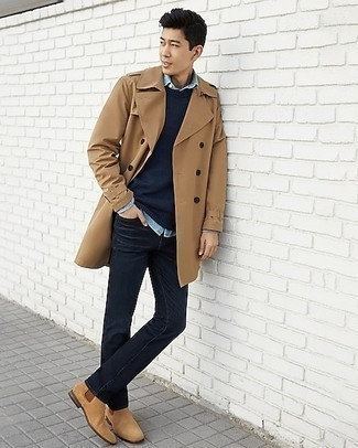Tan Suede Chelsea Boots with Black Jeans Smart Casual Fall Outfits For Men: If you don't take your style lightly, go for smart style in a tan trenchcoat and black jeans. To add some extra flair to your outfit, add a pair of tan suede chelsea boots to this outfit. We love that this look is great when cooler weather arrives.