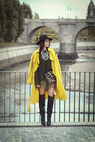 Tan Leopard Suede Clutch Outfits: Putting together a yellow trenchcoat with a tan leopard suede clutch is an awesome pick for a casual look. For something more on the dressier side to complete your ensemble, complement your look with black leather over the knee boots.