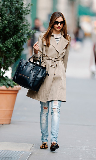 How to wear: beige trenchcoat, white and navy horizontal striped crew-neck sweater, light blue ripped skinny jeans, tan leopard suede loafers
