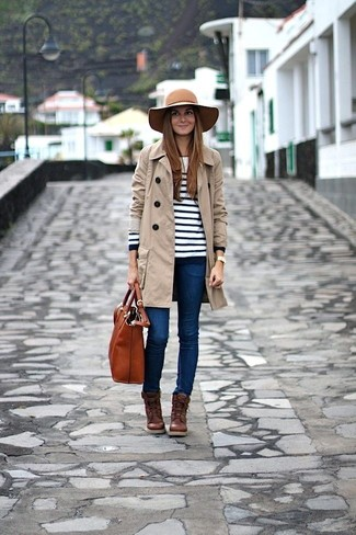Stand out among other stylish civilians in a white striped crew-neck sweater and blue skinny jeans. A pair of dark brown leather lace-up ankle boots will seamlessly integrate within a variety of outfits.