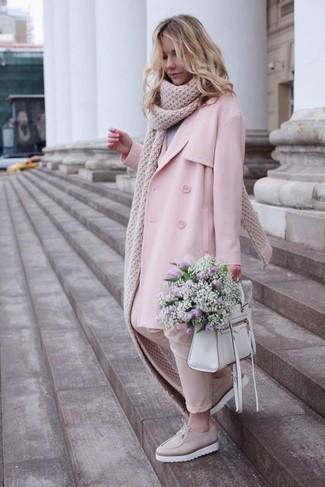 How to wear: pink trenchcoat, grey crew-neck sweater, beige skinny pants, beige leather platform loafers