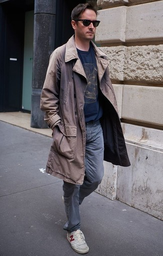 How to Wear Grey Canvas Low Top Sneakers For Men: This combo of a brown trenchcoat and grey jeans looks dapper, but it's extremely easy to wear too. Balance your look with more casual footwear, such as this pair of grey canvas low top sneakers.