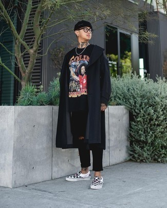 Black and White Check Canvas Slip-on Sneakers Outfits For Men: A black trenchcoat and black ripped jeans are a great ensemble that will easily carry you throughout the day and into the night. Black and white check canvas slip-on sneakers are a stylish complement for this look.