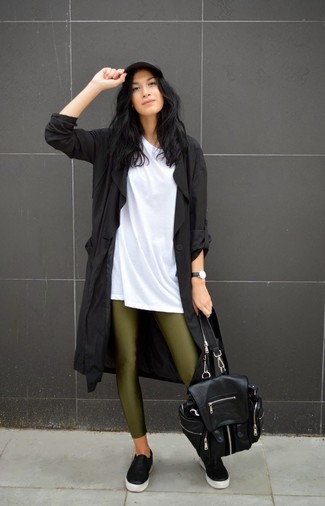 Reach for a black trenchcoat and olive leggings for a glam and trendy getup. Dress down your look with black leather slip-on sneakers.