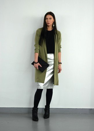 How to wear: olive trenchcoat, black crew-neck t-shirt, silver pencil skirt, black leather ankle boots