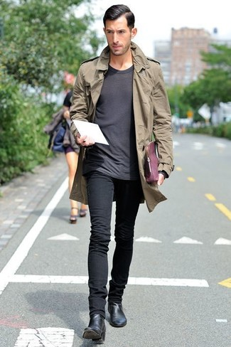Men's Olive Trenchcoat, Charcoal Crew-neck T-shirt, Black Skinny Jeans, Black Leather Chelsea Boots