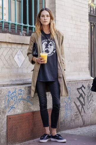 To create an outfit for lunch with friends at the weekend go for a tan trench and black skinny jeans. Choose a pair of black low top sneakers for a more relaxed feel.