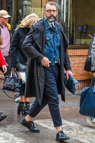 Blue Denim Jacket Outfits For Men: This relaxed casual combination of a blue denim jacket and navy cargo pants is a foolproof option when you need to look laid-back and cool but have zero time to pick out an ensemble. Black leather derby shoes will infuse an extra dose of style into an otherwise too-common look.