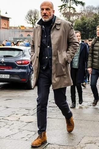 How to Wear Tobacco Suede Casual Boots For Men: For an effortlessly smart menswear style, consider teaming a grey trenchcoat with black chinos — these pieces play nicely together. Introduce a pair of tobacco suede casual boots to your look and the whole ensemble will come together.