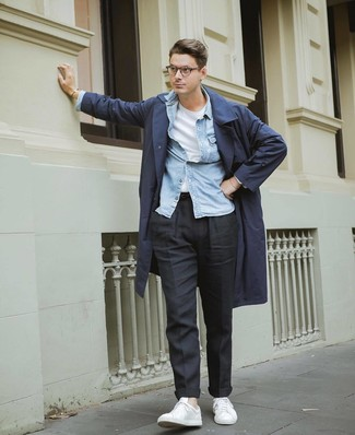 How to wear: navy trenchcoat, light blue denim shirt, white crew-neck t-shirt, black chinos