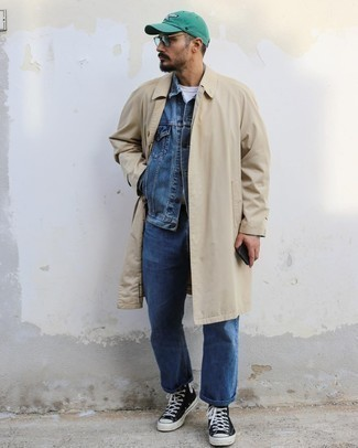 Mint Sunglasses Outfits For Men: A beige trenchcoat and mint sunglasses are among the key elements in any modern gentleman's functional casual closet. A pair of black and white canvas high top sneakers can integrate seamlessly within a variety of combos.