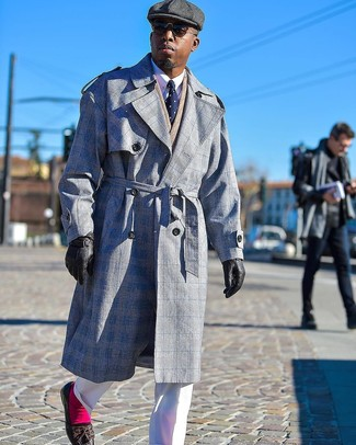 How to wear: grey plaid trenchcoat, tan herringbone double breasted blazer, white dress shirt, white dress pants
