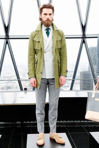 How to wear: olive trenchcoat, white double breasted blazer, white vertical striped dress shirt, grey gingham dress pants