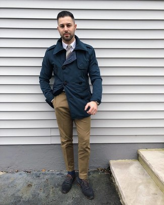 How to wear: navy trenchcoat, white dress shirt, brown chinos, navy leather oxford shoes