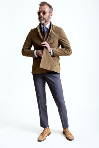 Lalle Johnson wearing Brown Trenchcoat, White Dress Shirt, Grey Dress Pants, Tan Suede Desert Boots