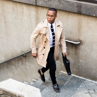 Beige Trenchcoat Outfits For Men: You can be sure you'll look incredibly smart in a beige trenchcoat and black dress pants. Finishing off with a pair of black leather loafers is an effective way to add a more relaxed finish to this ensemble.