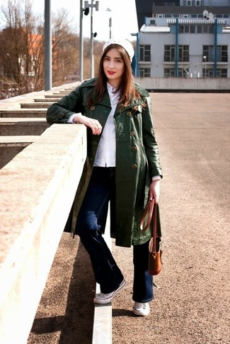 Women's Dark Green Leather Trenchcoat, White Dress Shirt, Navy ...