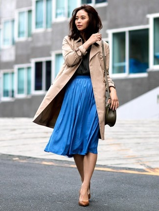How to wear: tan trenchcoat, black dress shirt, blue pleated midi skirt, brown leather pumps