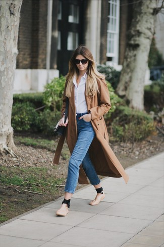 How to wear: brown trenchcoat, white dress shirt, blue skinny jeans, tan leather ballerina shoes