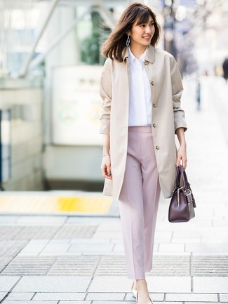 How to wear: beige trenchcoat, white dress shirt, pink tapered pants, silver leather ballerina shoes
