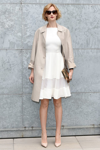 How to wear: beige trenchcoat, white fit and flare dress, beige leather pumps, gold leather clutch