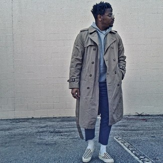 Grey Trenchcoat Outfits For Men: Try pairing a grey trenchcoat with navy chinos if you're aiming for a crisp, stylish look. Does this outfit feel too dressy? Enter black and white check canvas slip-on sneakers to shake things up.