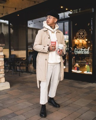 Black Leather Derby Shoes Outfits: A beige trenchcoat and white chinos combined together are a match made in heaven. Go the extra mile and spice up your look by wearing black leather derby shoes.