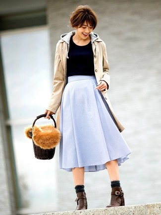 How to wear: tan trenchcoat, grey hoodie, black crew-neck sweater, light blue full skirt