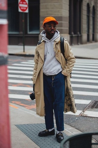 How to wear: beige trenchcoat, grey hoodie, navy corduroy jeans, black leather loafers