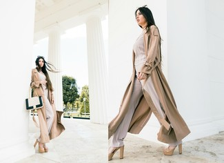 Women's Tan Trenchcoat, Beige Long Sleeve Blouse, Beige Wide Leg Pants, Beige Leather Heeled Sandals
