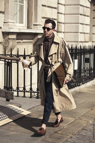 How to wear: tan trenchcoat, dark brown long sleeve shirt, black chinos, brown leather tassel loafers
