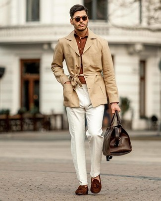 How to wear: tan linen trenchcoat, tobacco long sleeve shirt, white linen chinos, dark brown suede tassel loafers