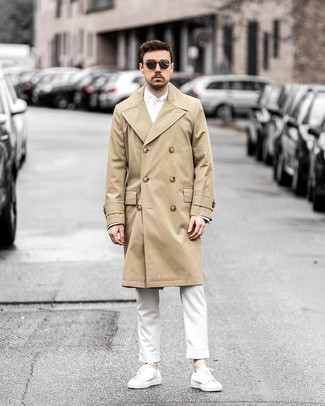 White Long Sleeve Shirt Outfits For Men: This sharp outfit is so simple: a white long sleeve shirt and white chinos. Clueless about how to round off? Complement your ensemble with white canvas low top sneakers for a more relaxed twist.