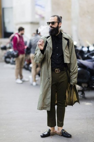 Men's Outfits 2021: As you can see here, looking casually classy doesn't take that much effort. Consider teaming a beige houndstooth trenchcoat with a black long sleeve shirt and be sure you'll look incredibly stylish.