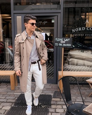White and Red Leather Low Top Sneakers Smart Casual Outfits For Men: Pairing a tan trenchcoat with white chinos is a good idea for an effortlessly neat outfit. Why not add white and red leather low top sneakers to the equation for a more relaxed twist?